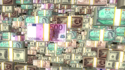 World money background. Euro, dollars and other currencies