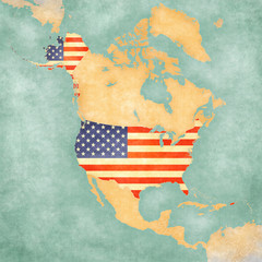Map of North America – USA (vintage series)