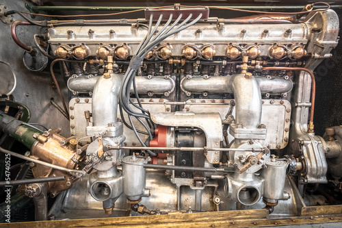powerful vintage vehicle engine closeup