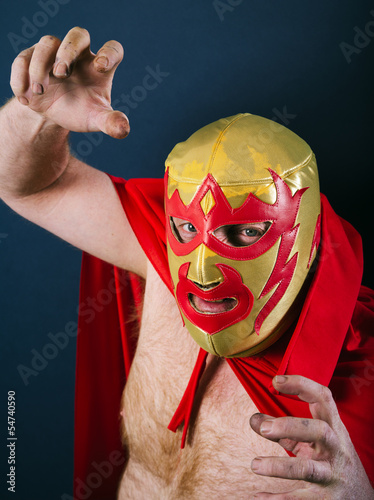 Mexican wrestler in a fight pose