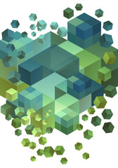Abstract 3D cubes, vector