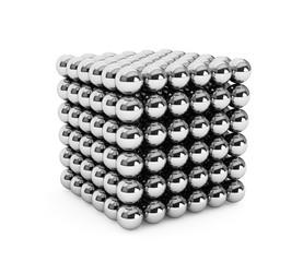 Cube assembled from little balls
