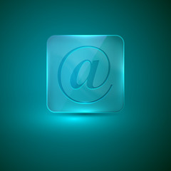 glass icon with e-mail sign