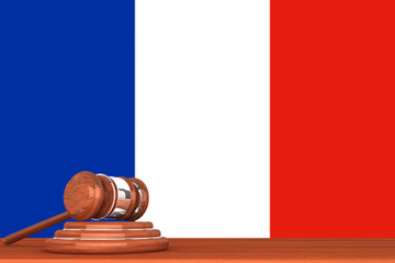 Gavel with Flag Of France