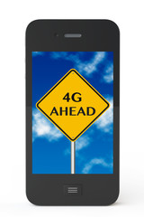 4g ahead sign with Mobile Phone