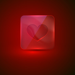 glass icon with heart sign