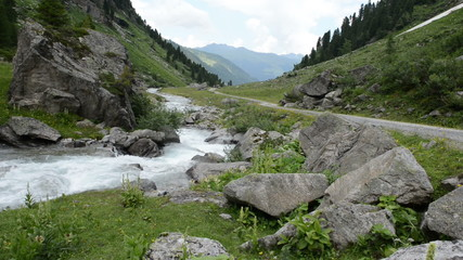 Stream water at Wildgerlos valley at Zillertal alps