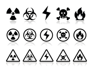 Danger, attention icons set