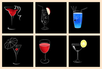 Set of cocktail glasses and wine glasses