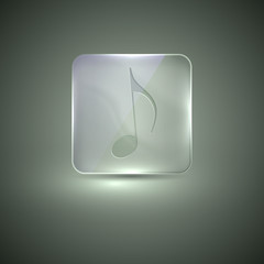 glass icon with musical note