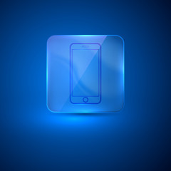 glass icon with mobile phone sign
