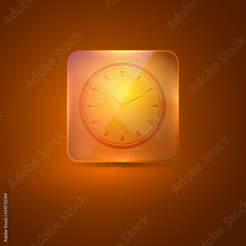 glass icon with clock sign