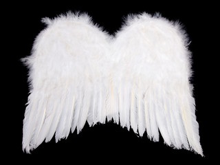 Whiite angel wings on black