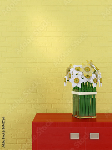 Beautiful daffodils in the interior