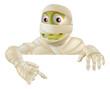 Halloween Mummy Pointing Down