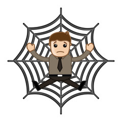 Man Stuck in Spider Web - Business Cartoon Characters