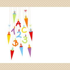 Schulbeginn ABC & 123 & Schultüten bunt Punkte