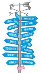 Wegweiser, Richtung, Orientierung, Beruf, Studium, Pfeile, Himme