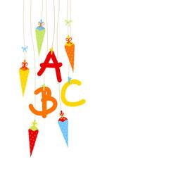 Einschlung 5 Schultüten & ABC bunt