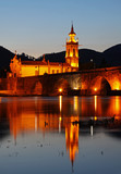 The old romanic bridge of Ponte de Lima after sunset