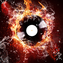 burning vinyl disc