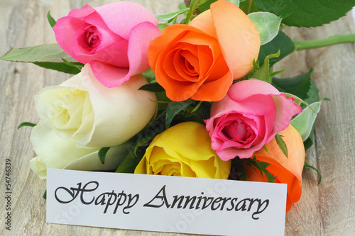 Happy Anniversary note with colorful roses