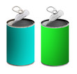 Open tin cans,green and turquoise - isolated over white backgrou