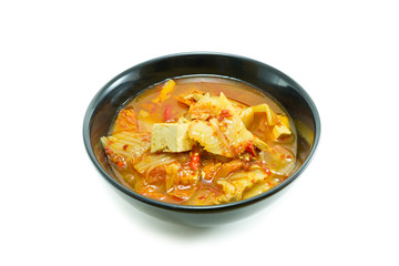 Korean food, kimchi stew on white background