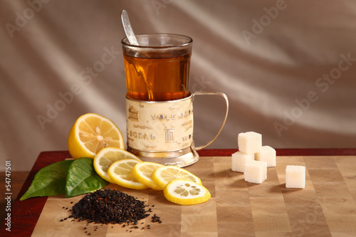 tea, lemon and refined sugar