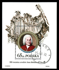 Poland - CIRCA 1985 shows Johann Sebastian Bach and organ