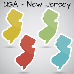 stickers in form of New Jersey state, USA
