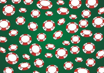 poker chips seamless pattern with green background