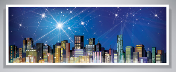 Vector banner night cityscape.