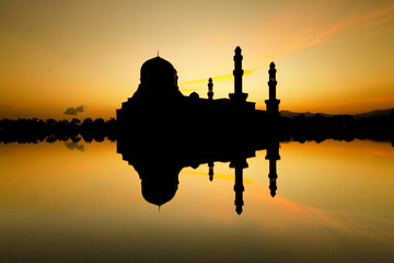 Silhouette and reflection of mosque in Borneo, Sabah, Malaysia