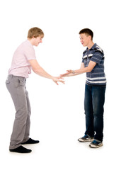 Two students who are successful hit on his hands