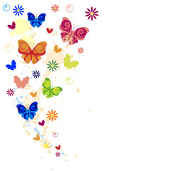 Colorful splash of butterflies, flowers and paint splashes.