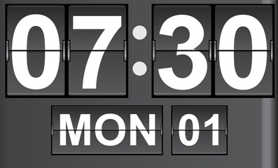 flip clock with date and  timer vector illustration