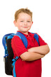 Happy grade school student wearing backpack isolated on white