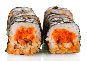 delicious sushi isolated on white