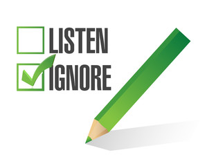 listen or ignore check box illustration design