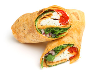 Wrap Sandwich with Feta Cheese & Peppers