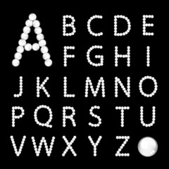 Alphabet made from white pearls for your design