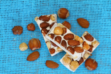 Almond and hazelnut nougat, close up