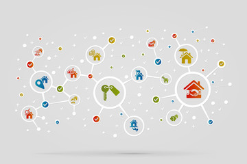 Real estate icons abstract vector backgound