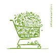 Shopping cart with healthy food for your design