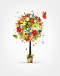 Four seasons concept. Art tree in pot for your design
