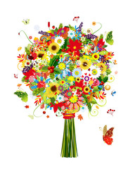 Four seasons bouquet with leaf and flowers for your design