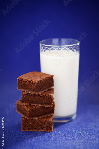 Chocolate brownie and glass of milk, selective focus