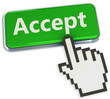 Accept button and hand cursor