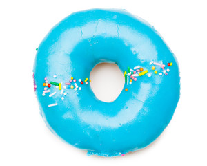 tasty blue donut, isolated on white